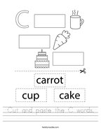 Cut and paste the C words Handwriting Sheet