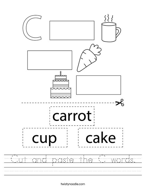 Cut and paste the C words. Worksheet