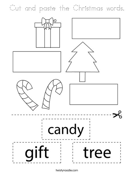 Cut and paste the Christmas words. Coloring Page