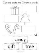 Cut and paste the Christmas words Coloring Page