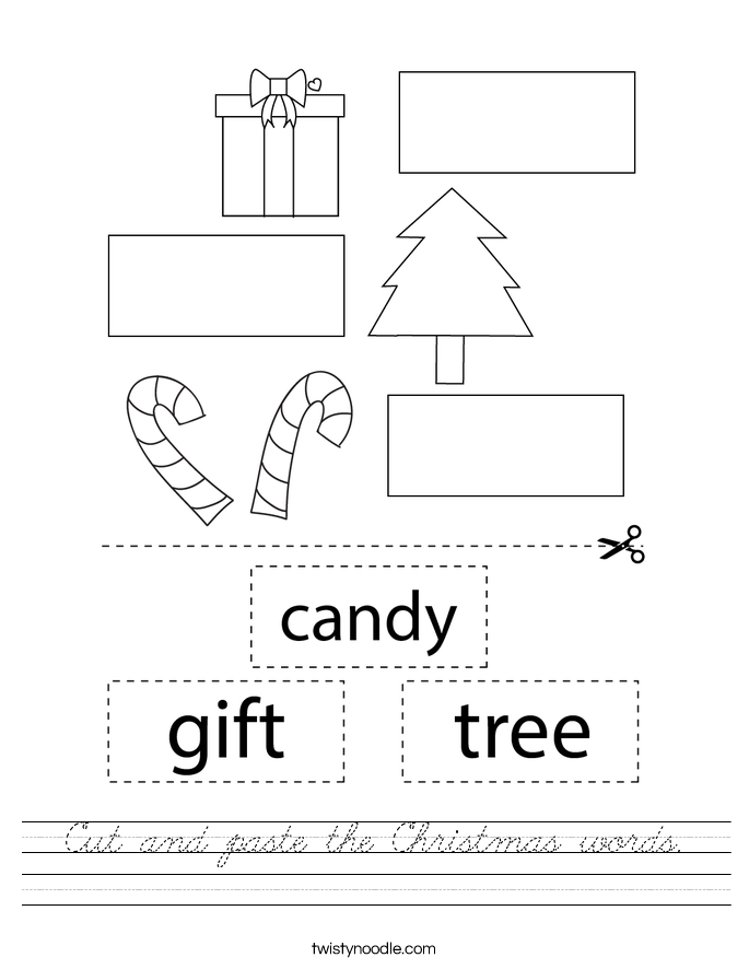 Cut and paste the Christmas words. Worksheet