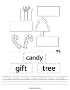 Cut and paste the Christmas words Handwriting Sheet