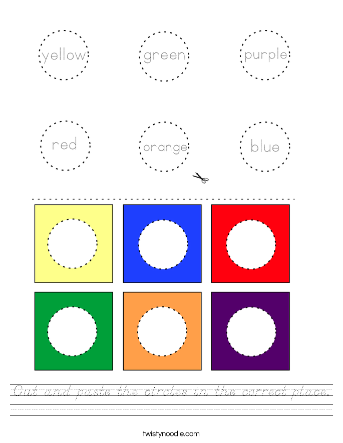 Cut and paste the circles in the correct place. Worksheet
