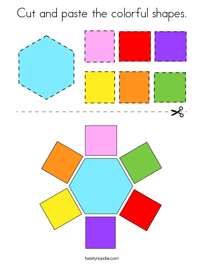 Cut and paste the colorful shapes. Coloring Page
