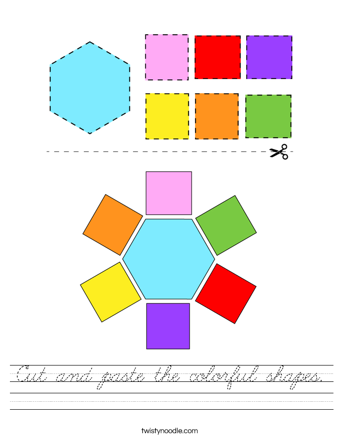 Cut and paste the colorful shapes. Worksheet