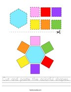 Cut and paste the colorful shapes Handwriting Sheet