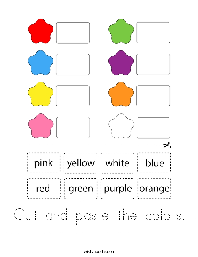 Cut and paste the colors. Worksheet