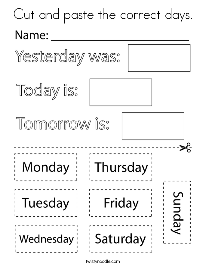 Cut and paste the correct days. Coloring Page