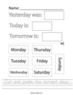 Cut and paste the correct days Handwriting Sheet