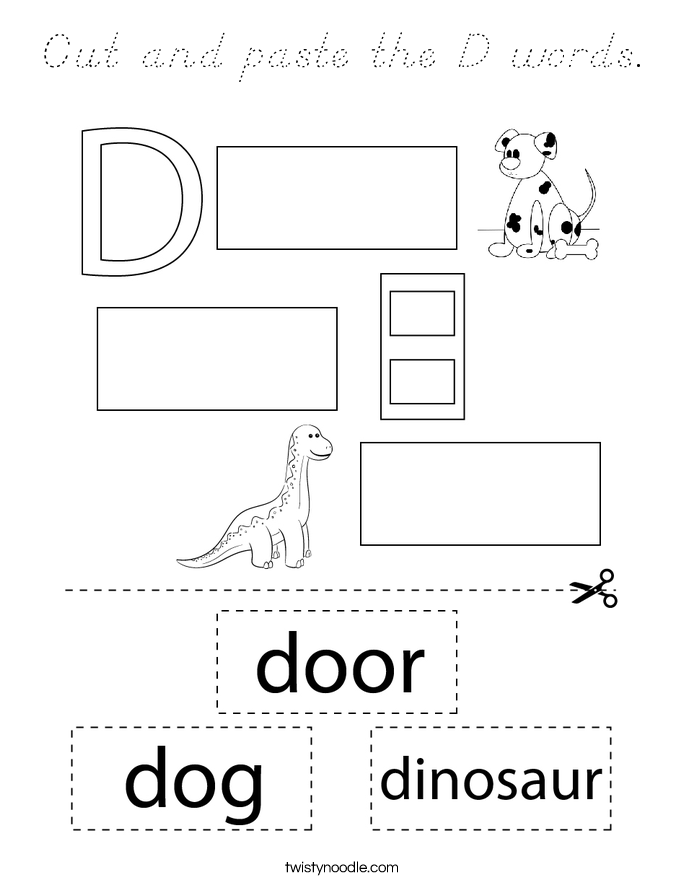 Cut and paste the D words. Coloring Page