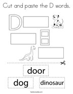 Cut and paste the D words Coloring Page