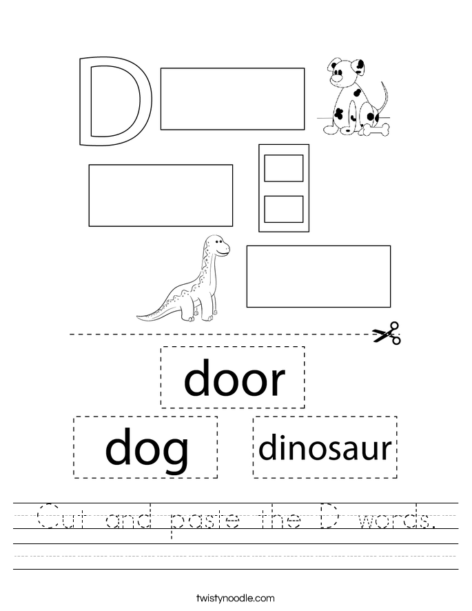Cut and paste the D words. Worksheet