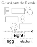 Cut and paste the E words Coloring Page