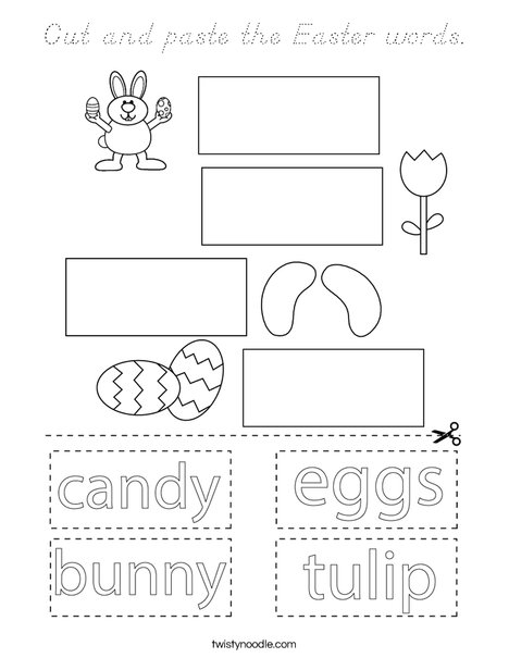 Cut and paste the Easter words. Coloring Page