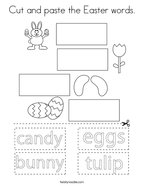 Cut and paste the Easter words Coloring Page