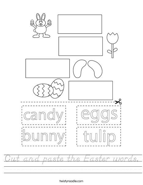 Cut and paste the Easter words. Worksheet