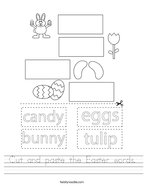 Cut and paste the Easter words Handwriting Sheet