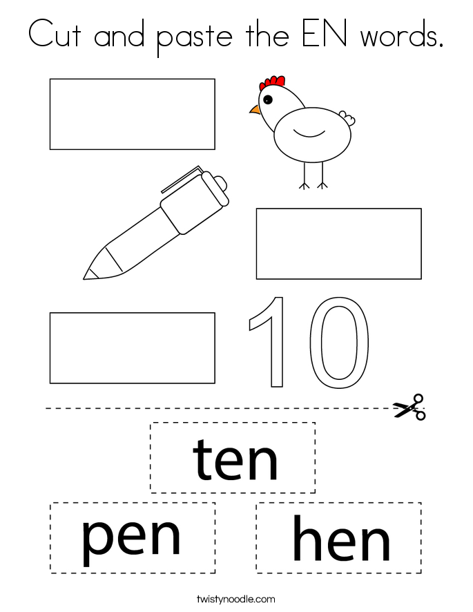 Cut and paste the EN words. Coloring Page