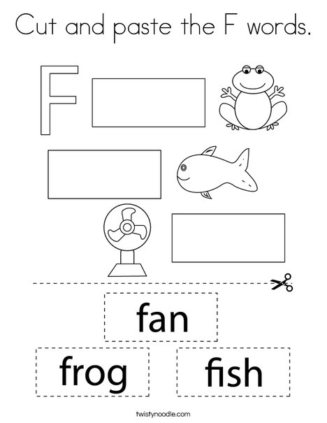 Cut and paste the F words. Coloring Page