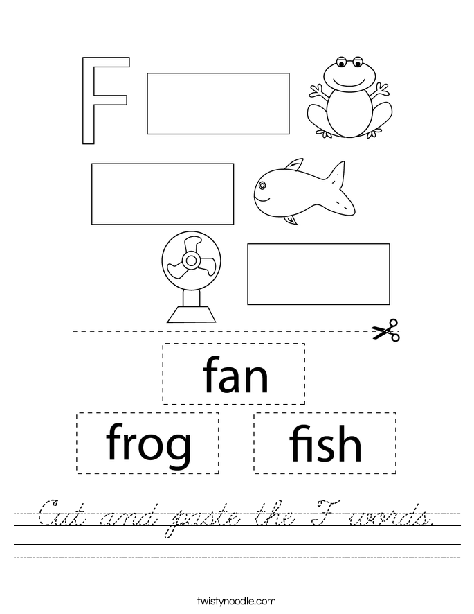 Cut and paste the F words. Worksheet