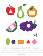 Cut and paste the fruit shapes Handwriting Sheet