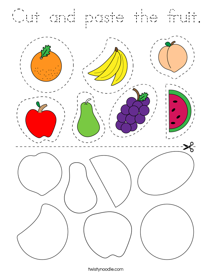 Cut and paste the fruit. Coloring Page