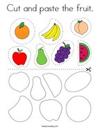 Cut and paste the fruit Coloring Page