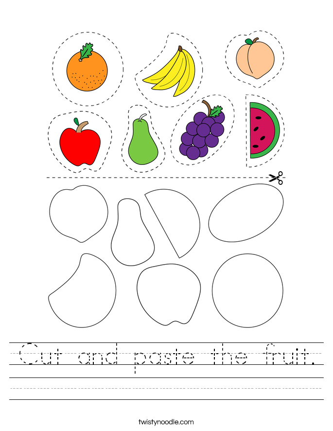 Cut and paste the fruit. Worksheet