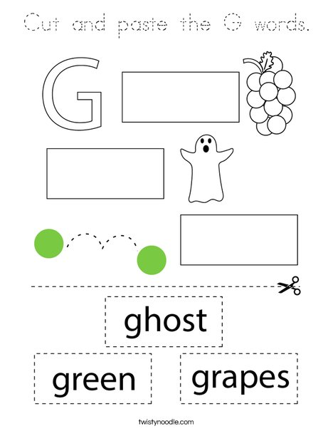 Cut and paste the G words. Coloring Page