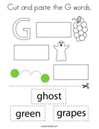 Cut and paste the G words Coloring Page