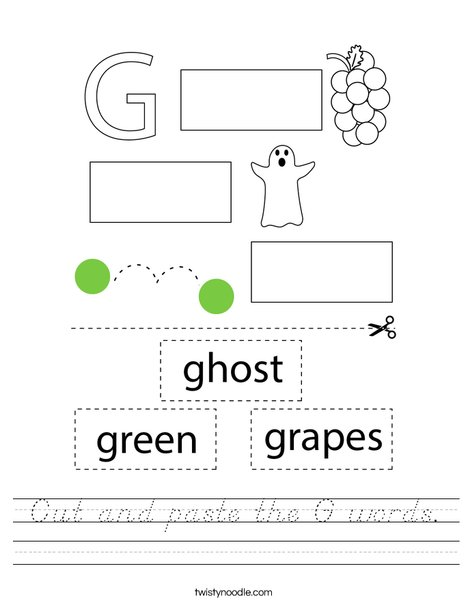 Cut and paste the G words. Worksheet