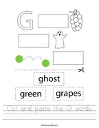 Cut and paste the G words Handwriting Sheet