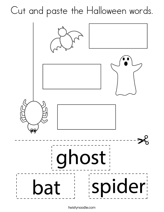 Cut and paste the Halloween words. Coloring Page
