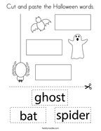 Cut and paste the Halloween words Coloring Page