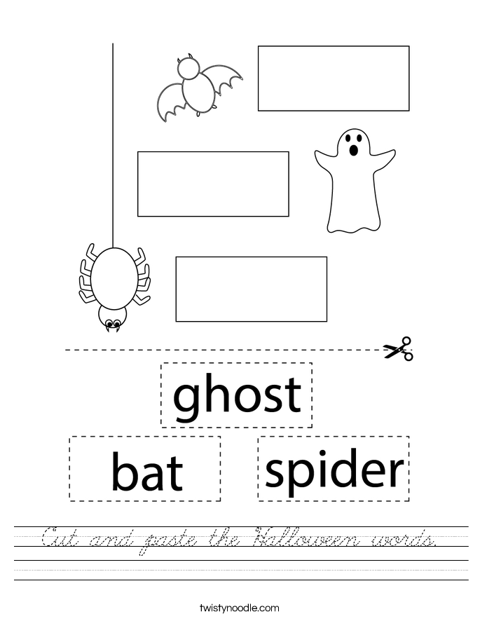 Cut and paste the Halloween words. Worksheet