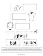 Cut and paste the Halloween words Handwriting Sheet