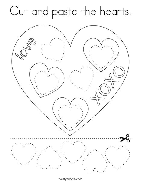 Cut and paste the hearts. Coloring Page