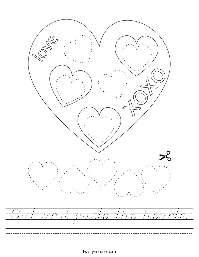 Cut and paste the hearts. Worksheet