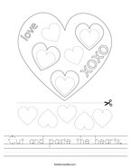 Cut and paste the hearts Handwriting Sheet