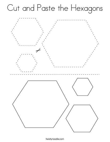 Cut and Paste the Hexagons Coloring Page
