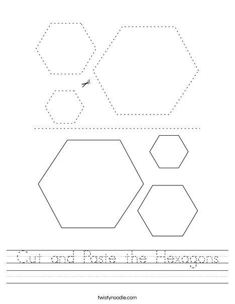 Cut and Paste the Hexagons Worksheet