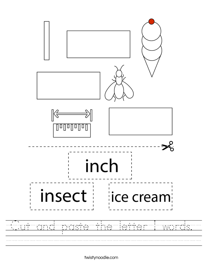 Cut and paste the letter I words. Worksheet