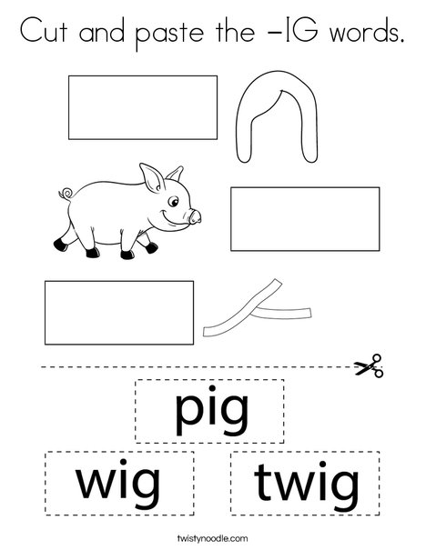 Cut and paste the -IG words. Coloring Page