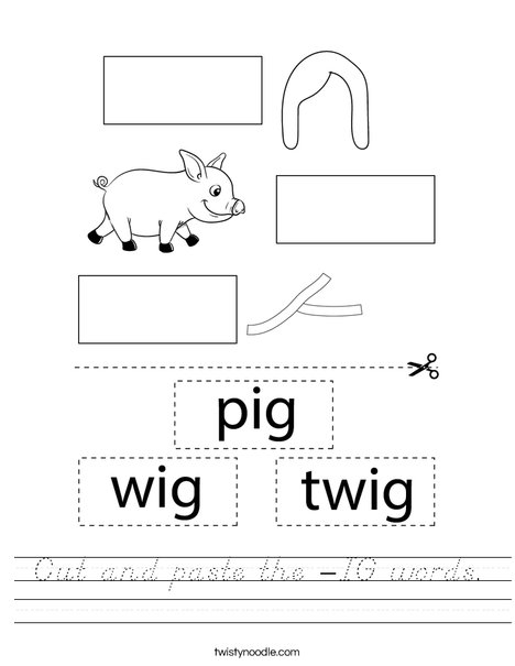 Cut and paste the -IG words. Worksheet