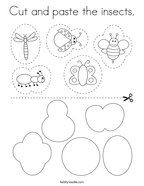 Cut and paste the insects Coloring Page
