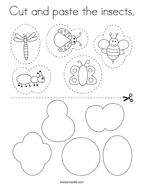 Cut and paste the insects. Coloring Page