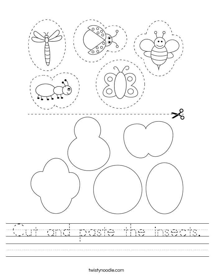 Cut and paste the insects. Worksheet