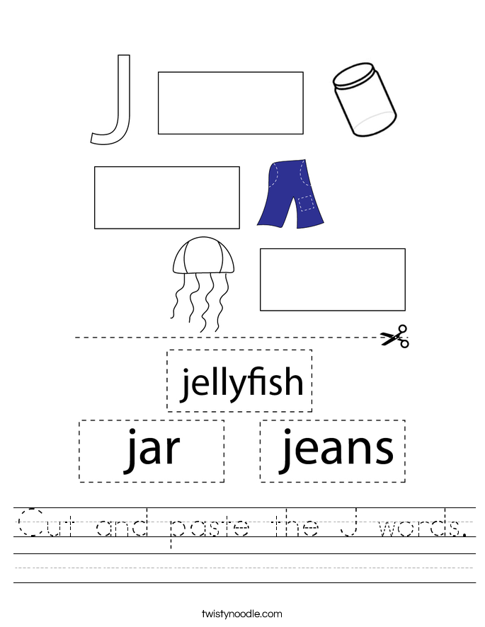 Cut and paste the J words. Worksheet