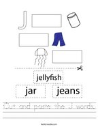 Cut and paste the J words Handwriting Sheet
