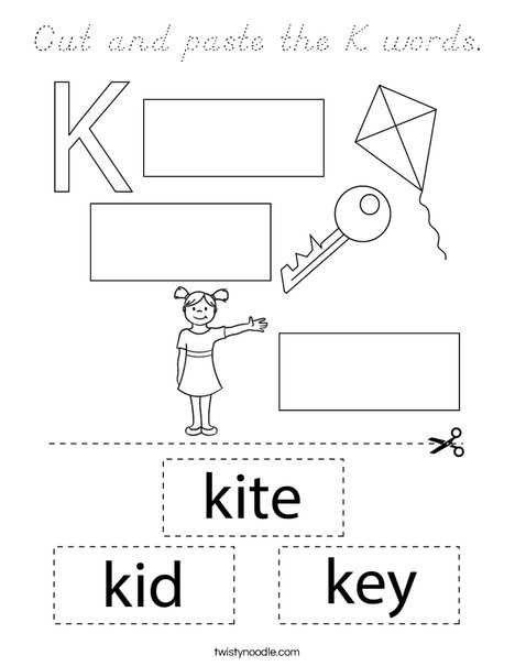 Cut and paste the K words. Coloring Page